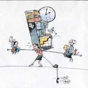 Illustration d'une femme sur une corde en train de balancer en portant des personnes et un classeur et d'autres objets