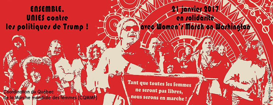 Bandeau pour la déclaration, sur fond rouge : photo modifiée de femmes manifestant (flou artistique).