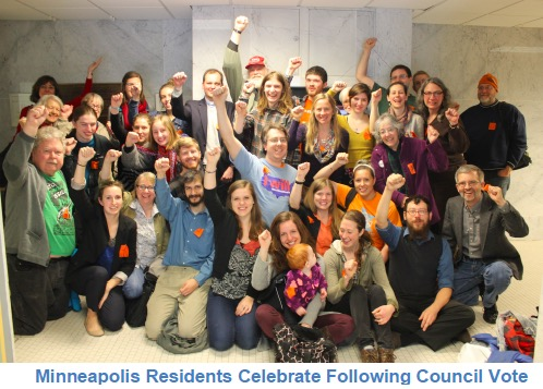 Celebration after Council vote
