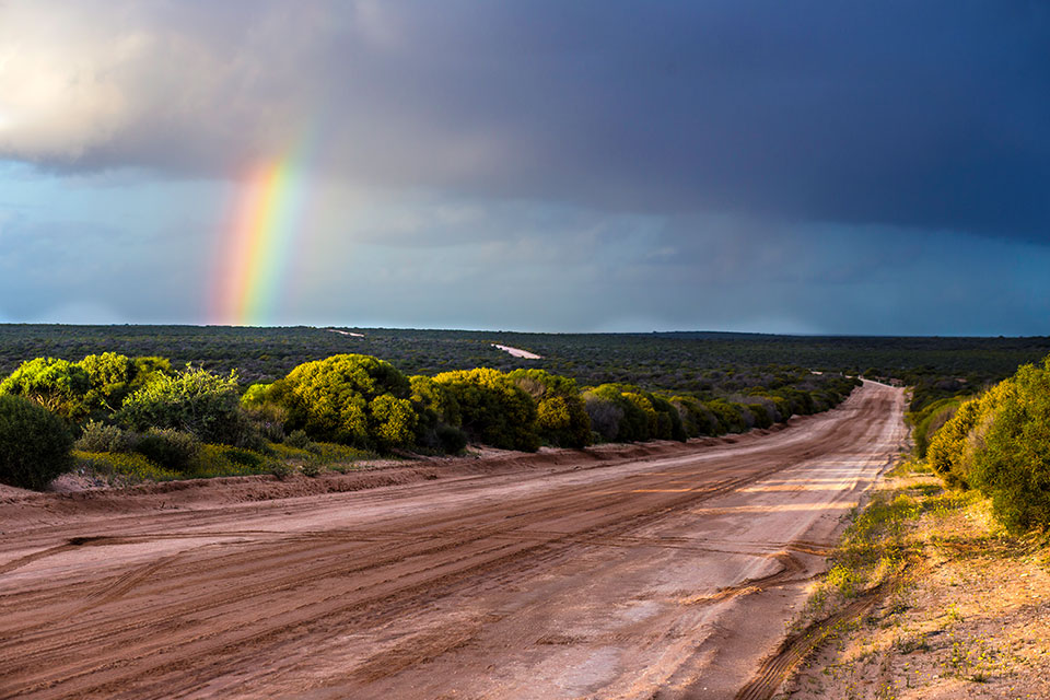 Rainbows at ex Tamala, near the Shark Bay World Heritage area (photographer Lawrence Hillary)