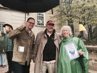 Town Manager Adam Chapdelaine, Selectman Joe Curro, and MOF member Susan Lees at Gas Leaks Tagging Launch
