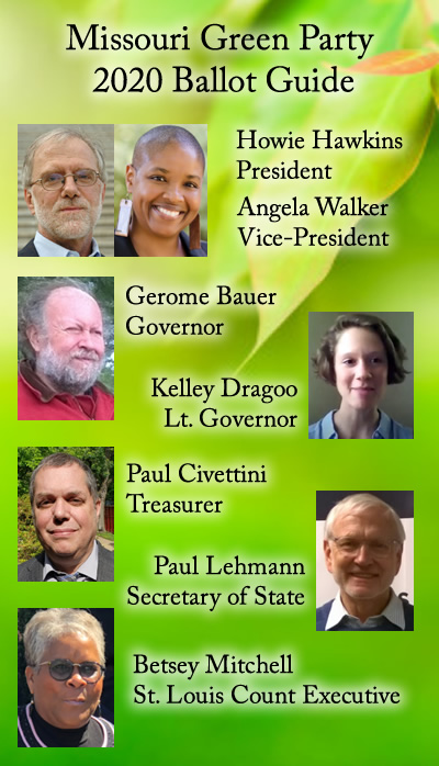 2020 St. Louis Missouri Green Party Ballot Guide