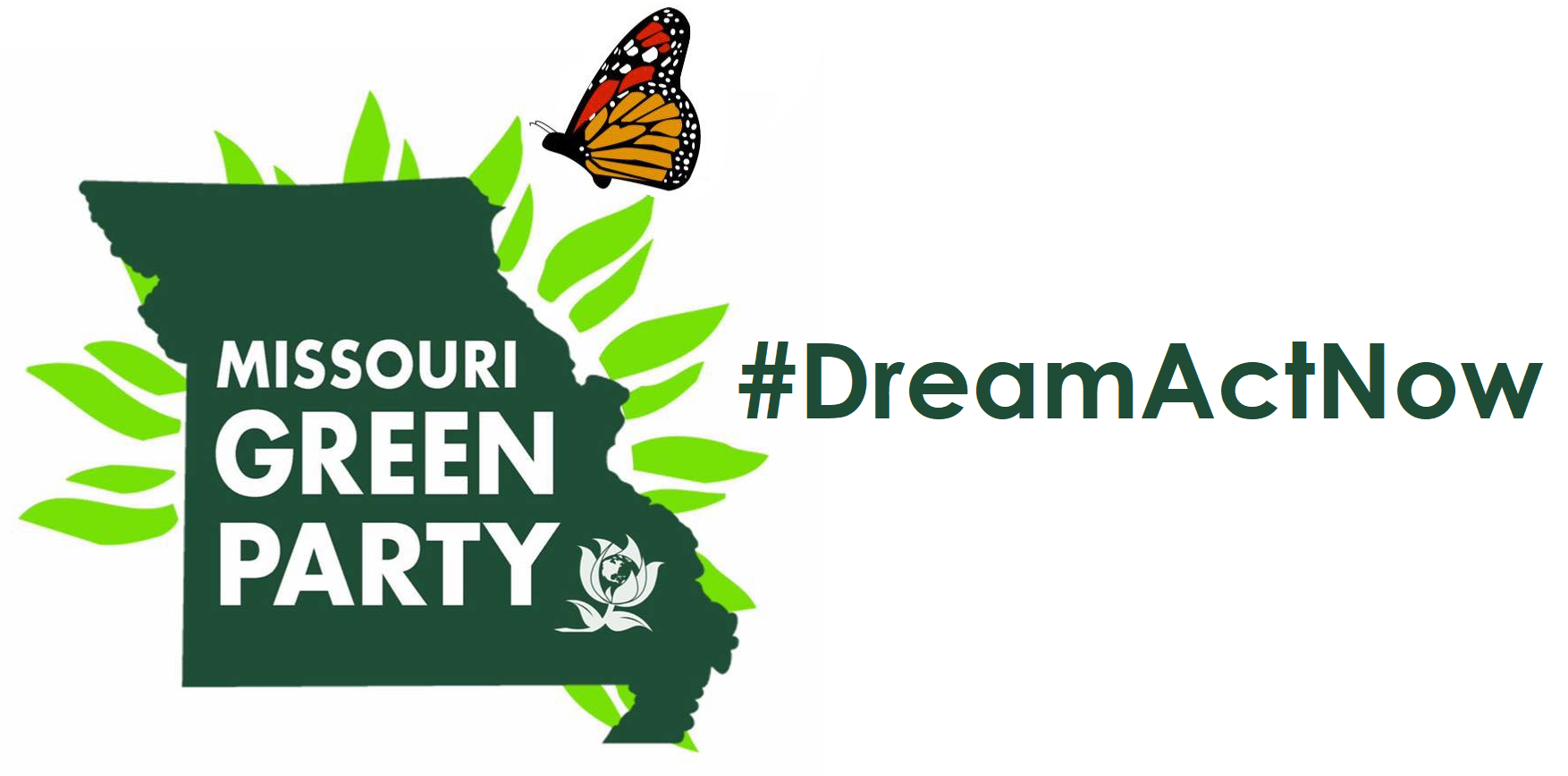 Missouri Green Party logo with Monarch - #DreamActNow