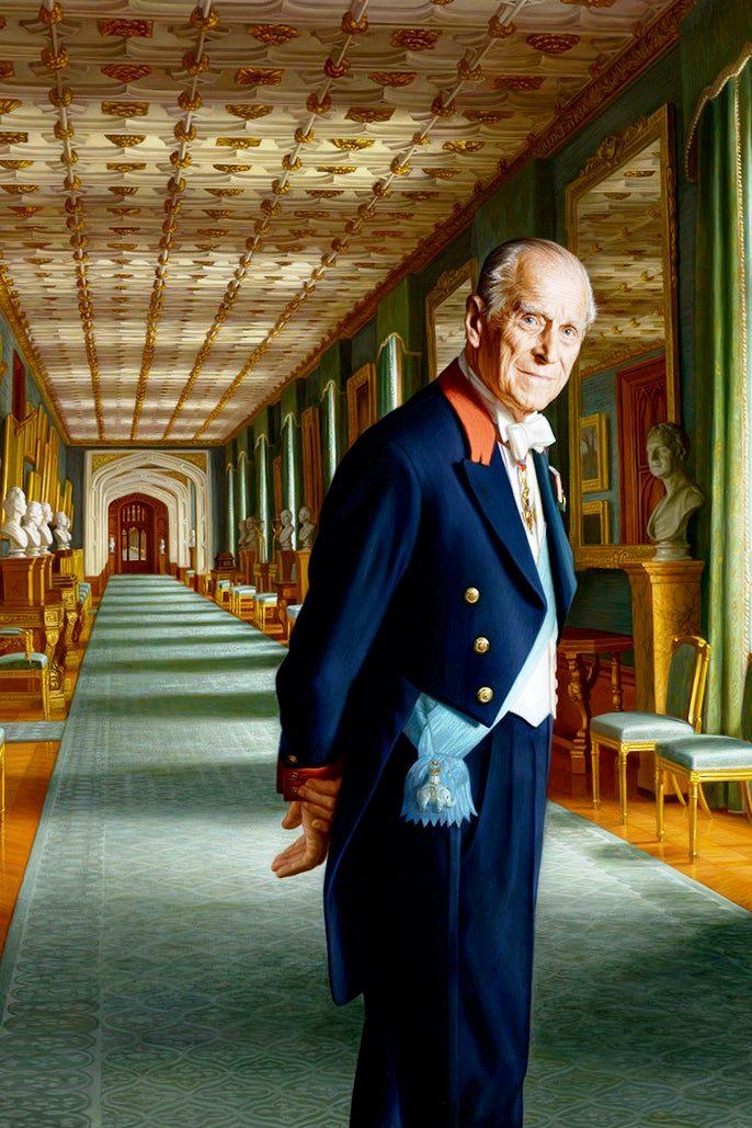 Duke of Edinburgh in formal attire standing in a long corridor at Windsor Castle