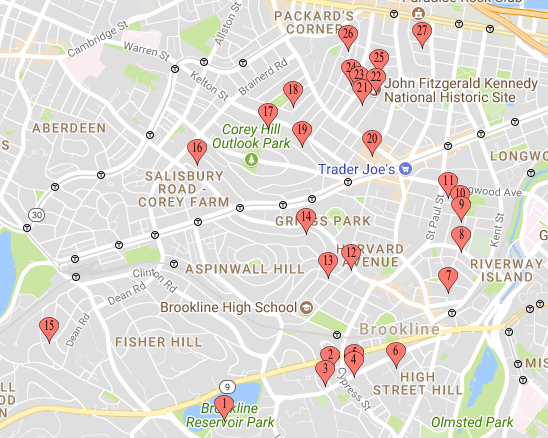 map showing brookline homes with solar panels, efficient water heaters, heat pumps, electric cars, etc.