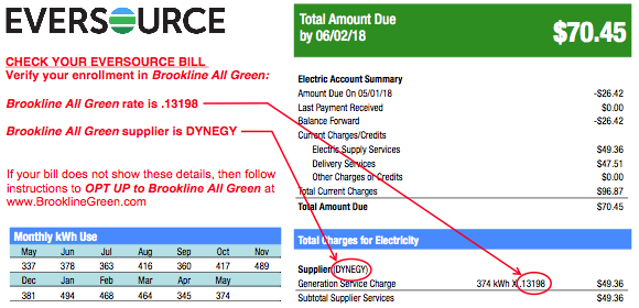 Eversource bill showing 100% Opt Up