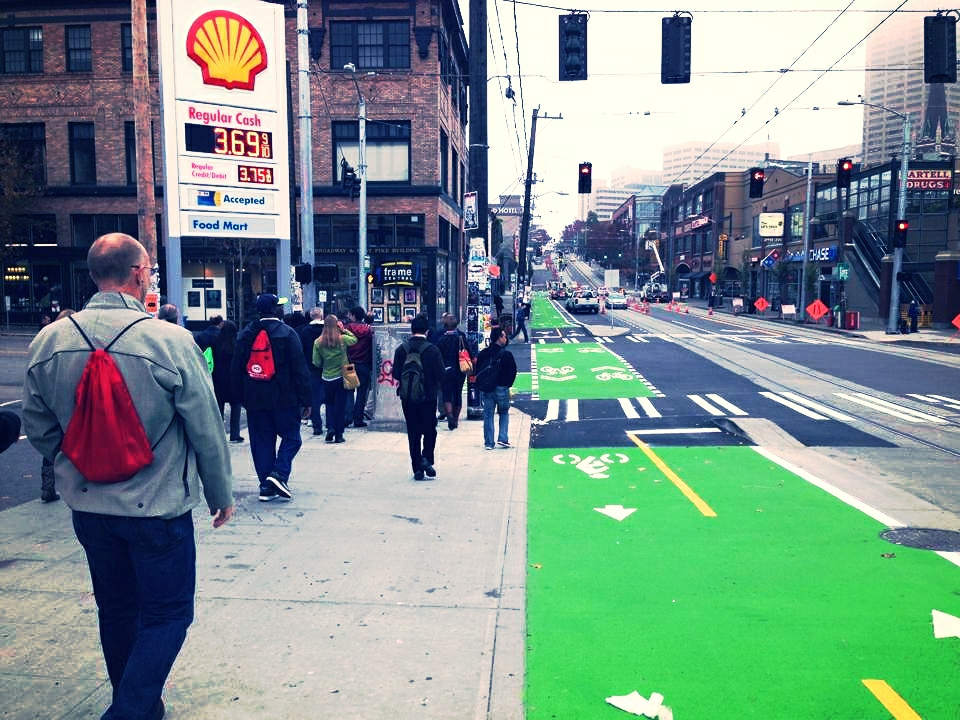 Protected bike lane in Seattle