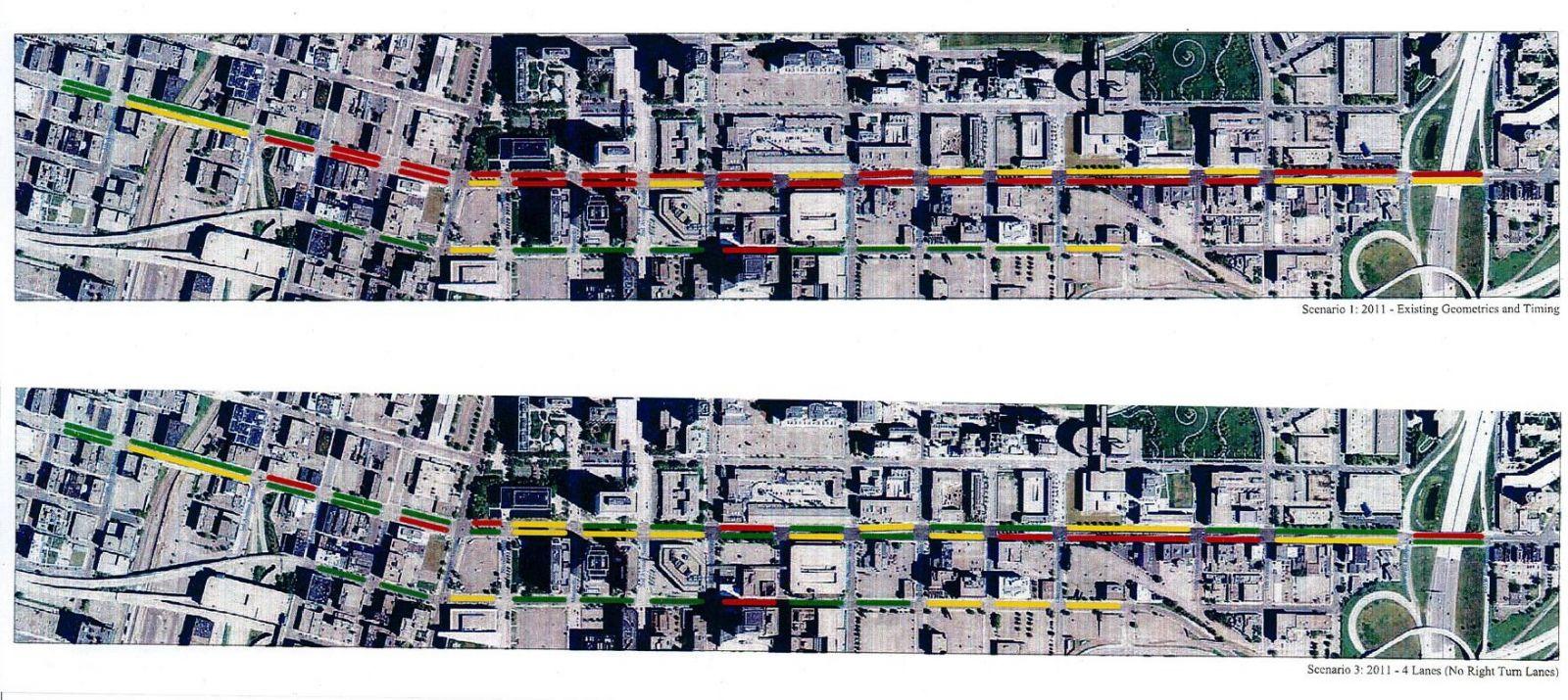 Comparison of traffic flow on Washington - current 7 lanes vs 5 lanes