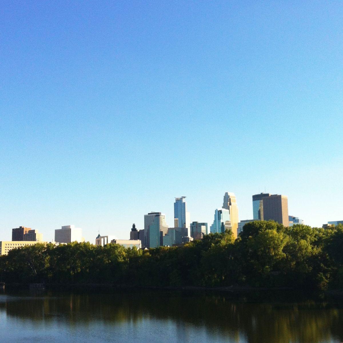 Minneapolis skyline from the Plymouth Avenue Bridge.