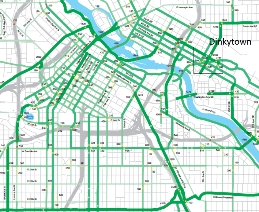 Darker green denotes high bicycle volumes. Dinkytown stands out as a particularly dense concentration of high-volume routes. Source: Minneapolis Public Works