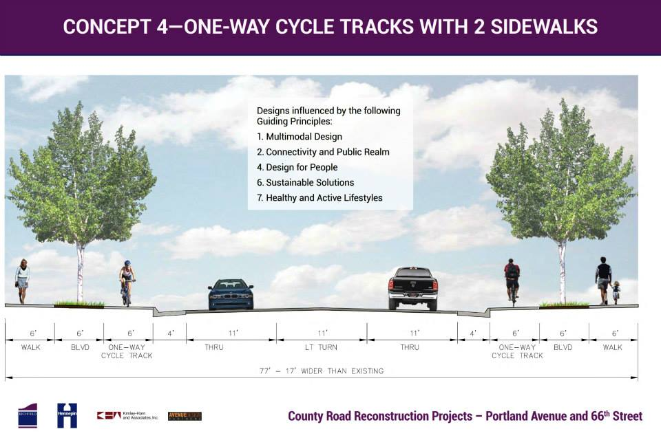 How cycletracks might look on 66th Street