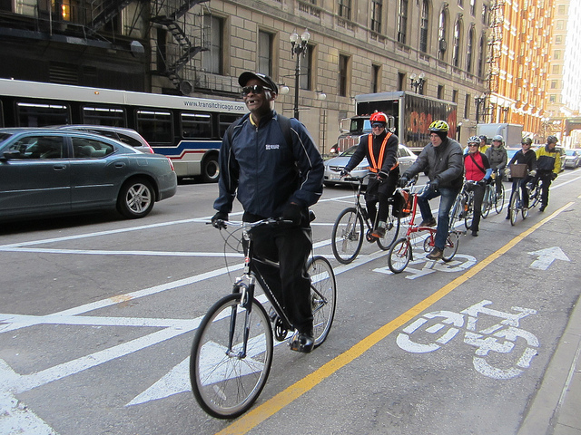 Dearborn Street protected bike lane in Chicago