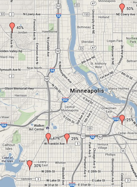 Minneapolis sidewalk biking map