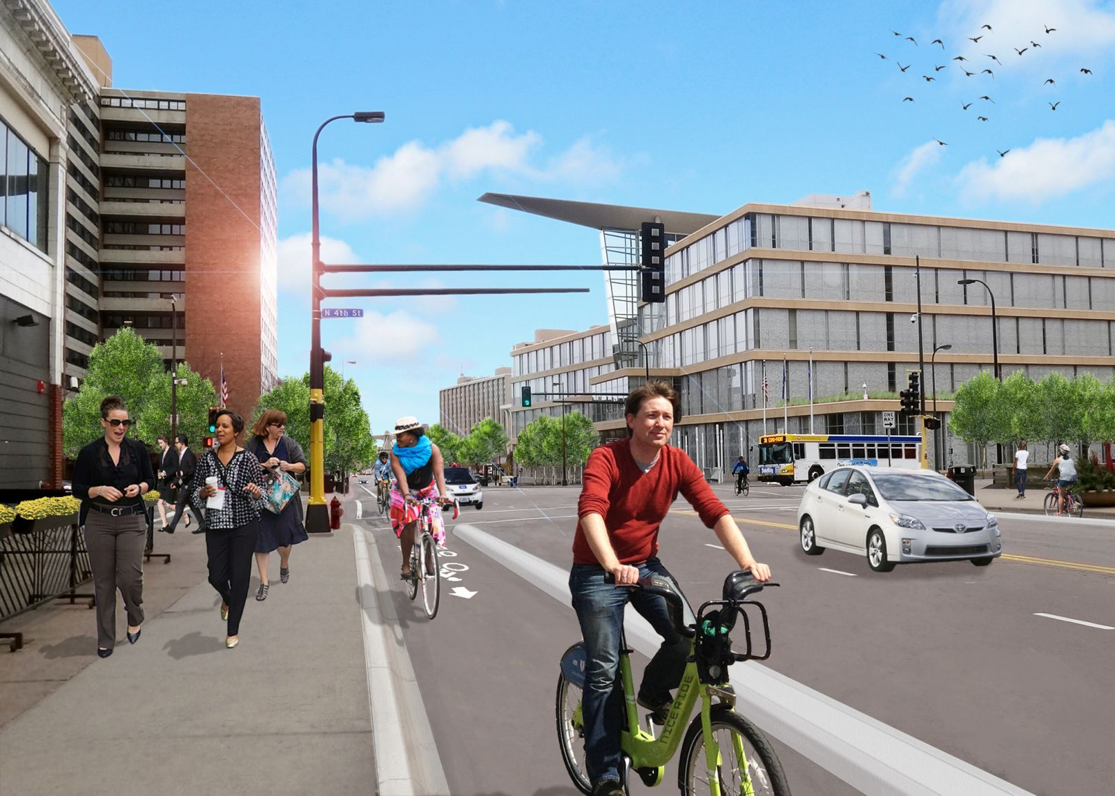 Potential Hennepin Avenue protected bike lanes