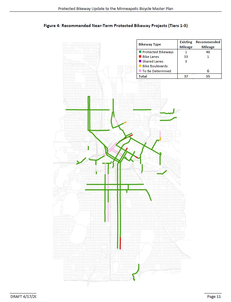 Draft map of protected bikeway plan