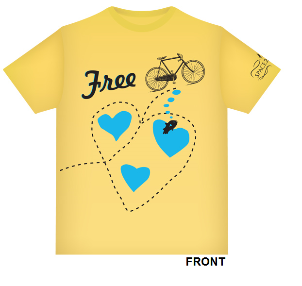 Minneapolis Bicycle Coalition T-Shirt in yellow with the word Free, a bike, and a bee buzzing around turquoise hearts.