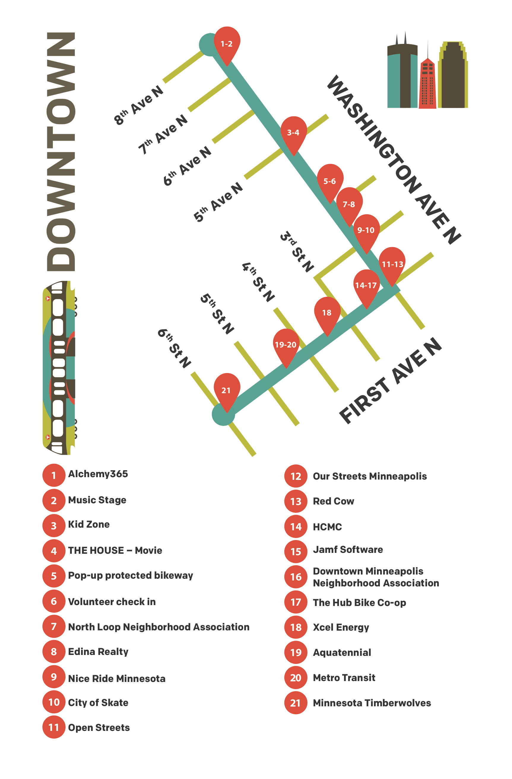 Open Streets Downtown Map
