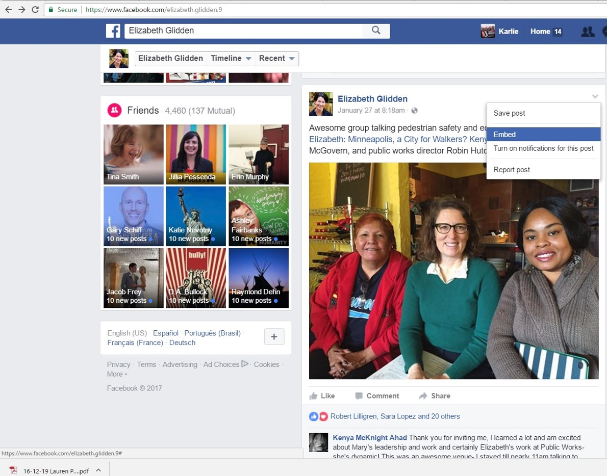 Embed a Facebook Post - Our Streets