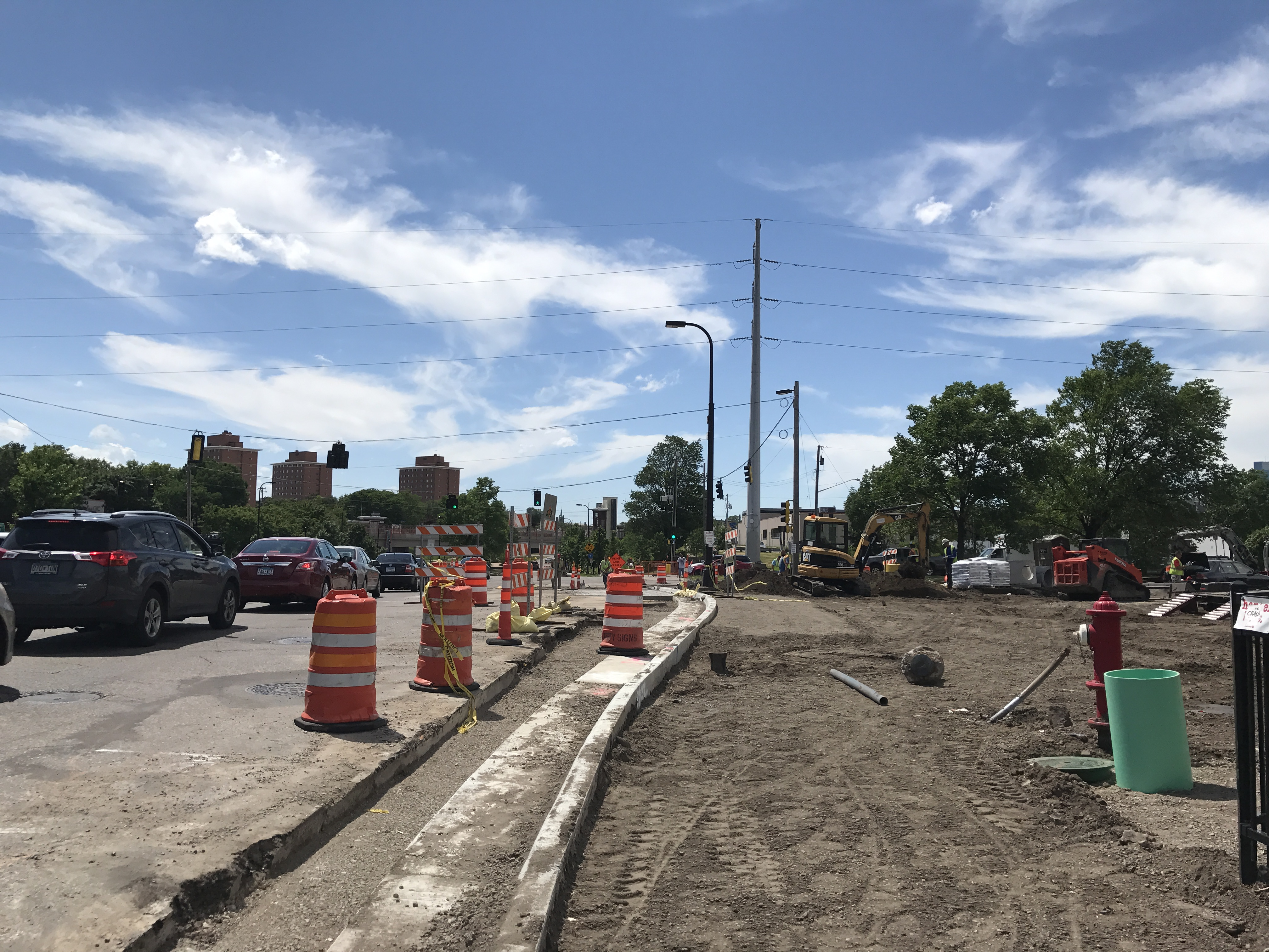 Curb under construction between Cedar Ave and Minnehaha Ave.