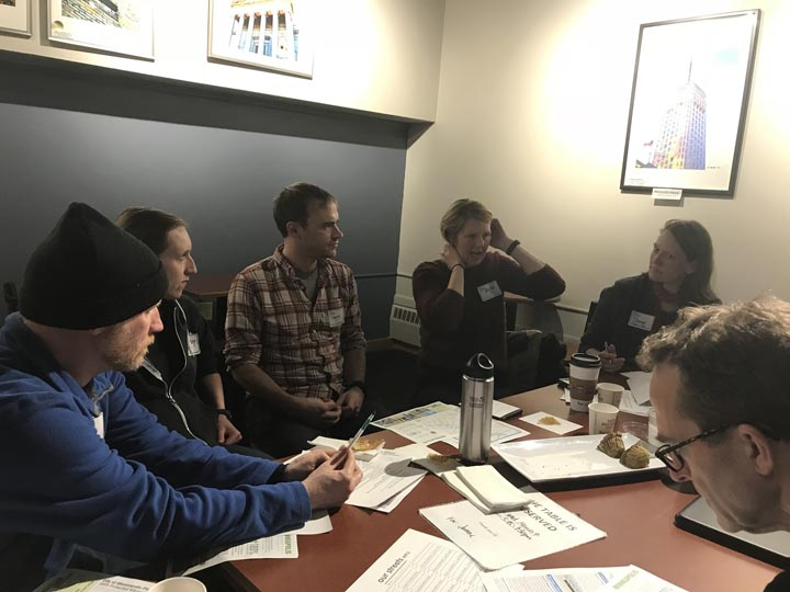 Volunteers meet for a downtown bikeways meeting in March 2018.