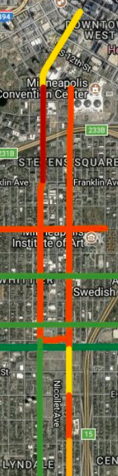 Map of the different bike design details on Lasalle/Blaisdell and 1st today