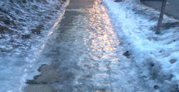 Icy sidewalk in Minneapolis