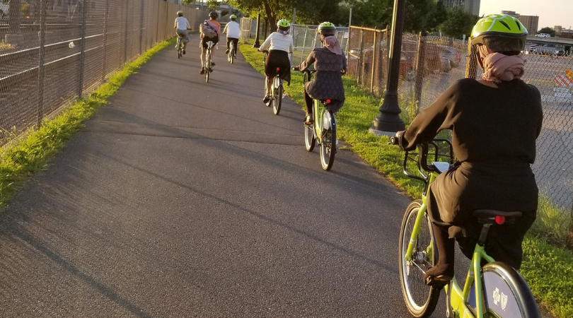 B.R.A.V.E. Foundation Bicycle Connectors Participants riding Nice Ride bikes