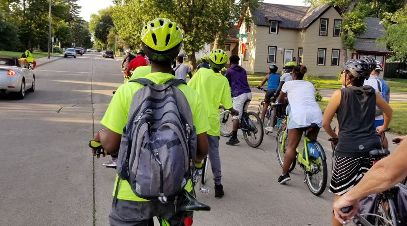 Folks on a Slow Roll ride in Minneapolis