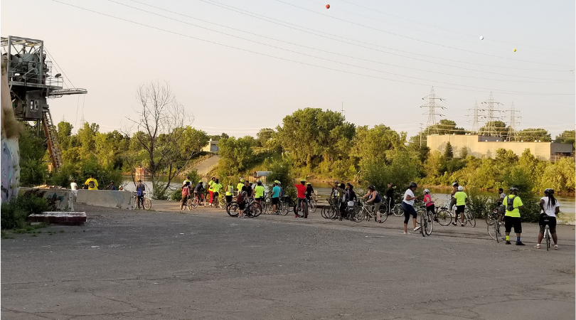 Slow Roll riders at the Upper Harbor Terminal site in North Minneapolis