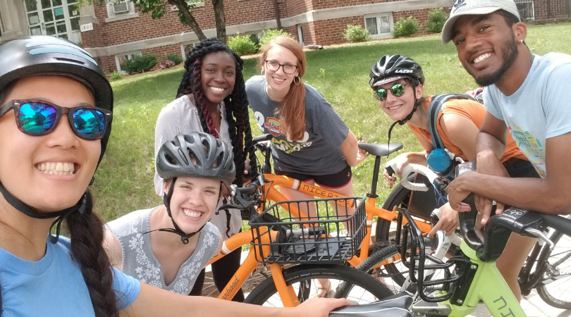 Haven housing participants and Our Streets Minneapolis staff with bikes