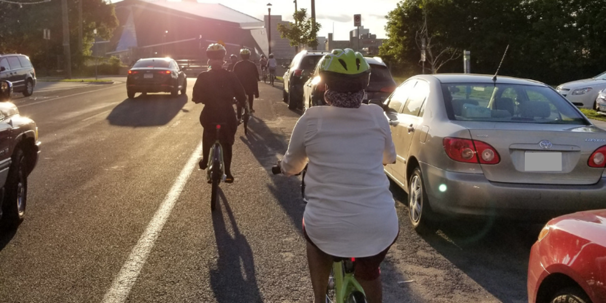 2018 Bicycle Connectors riders riding bikes downtown Minneapolis