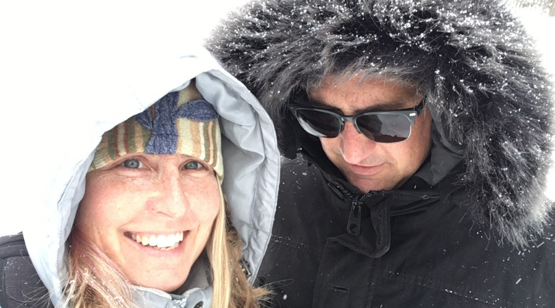 Amy Brugh and Board Member Scott Engel out for a winter walk