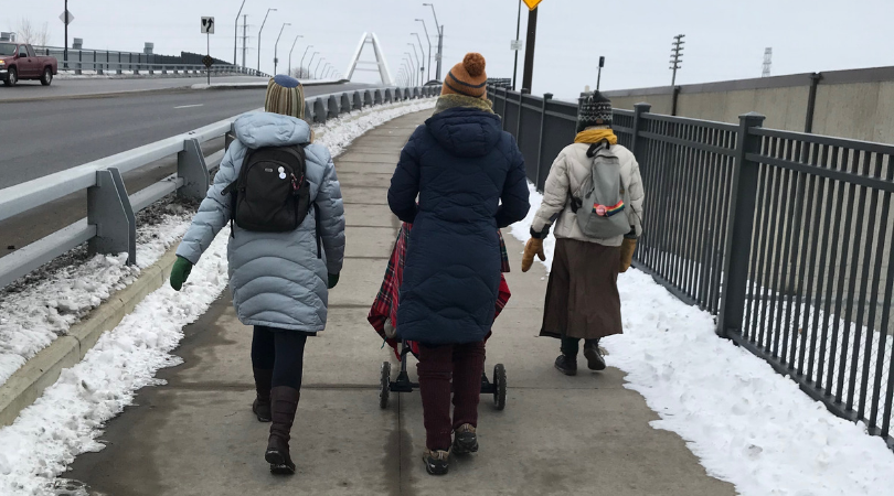 Board members walking in the winter