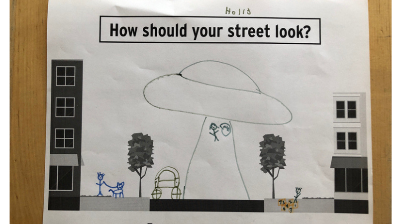 Hand drawn people walking on the sidewalk and being abducted by aliens in the street on a streetscape template