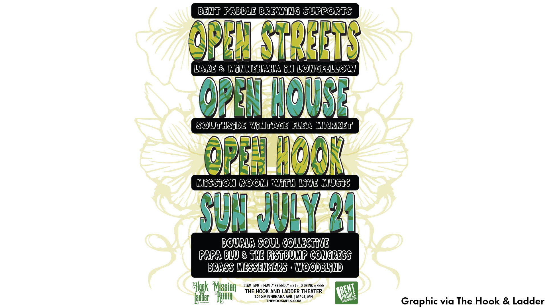 Graphic advertising Open Streets, Open House, Open Hook event