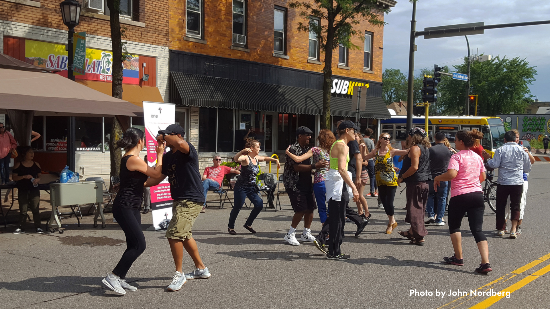 People dancing on the streets at Open Streets Northeast