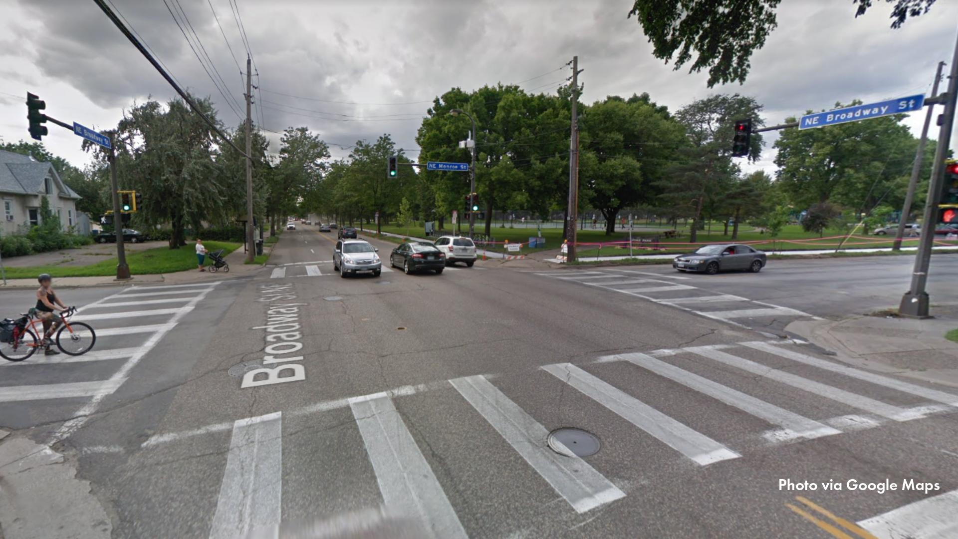 Intersection of Broadway St NE and Monroe St NE