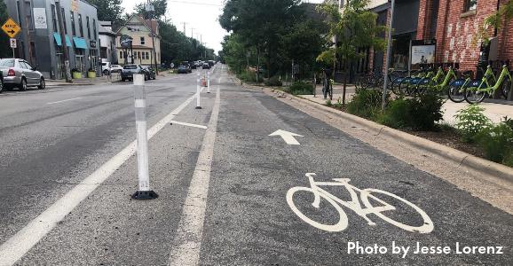 Bollards replaced on 26th St bike lane