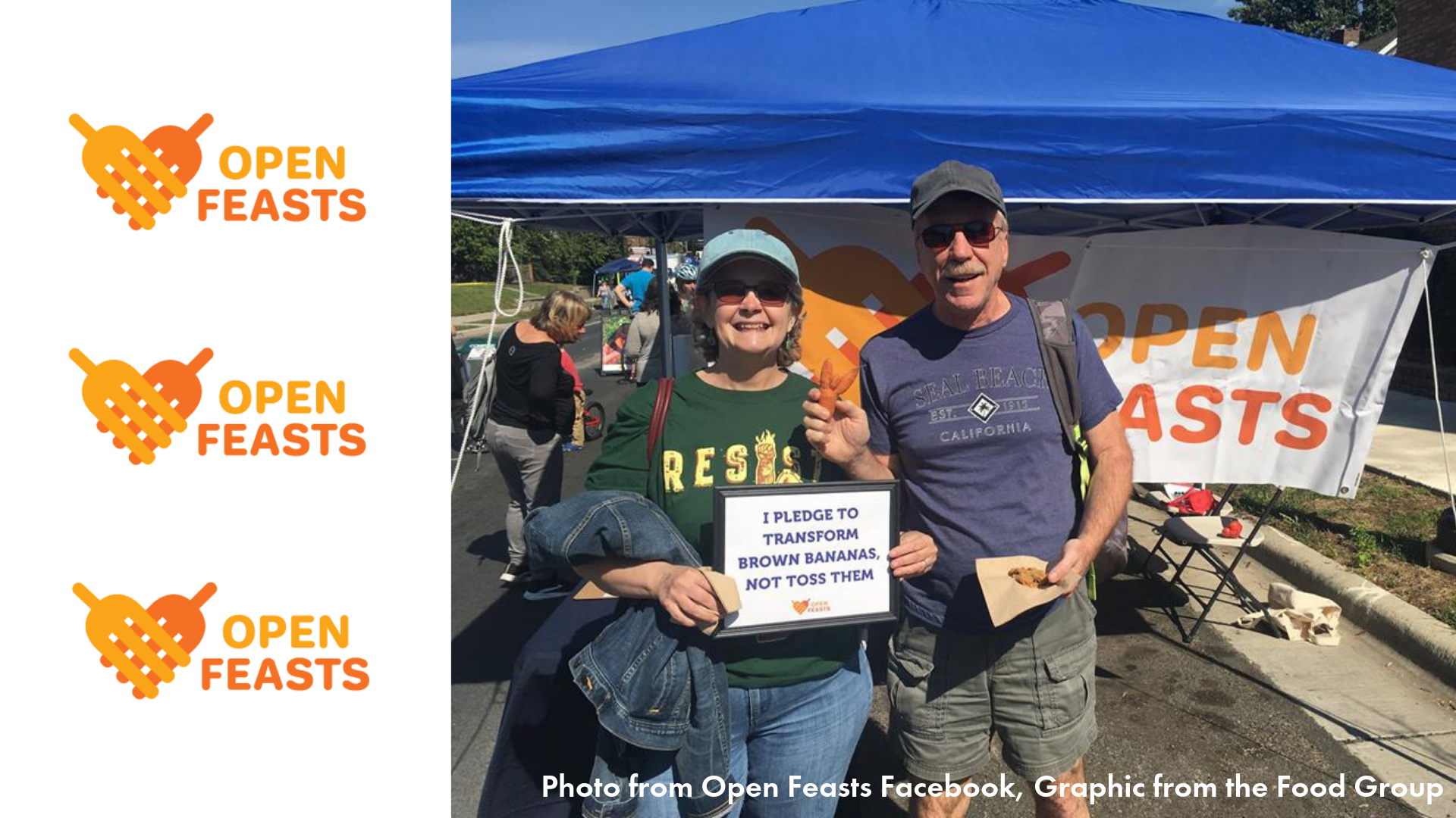 Open feasts logo and folks enjoying their tent