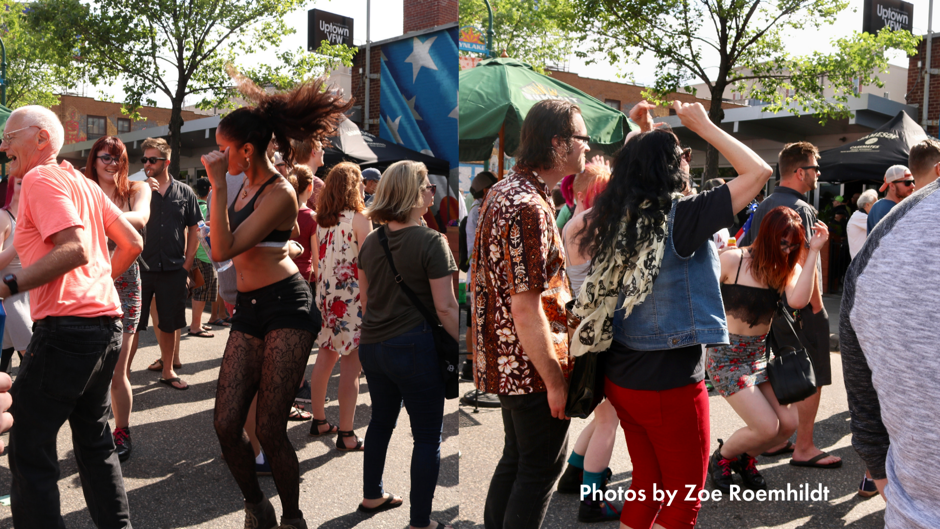 folks dancing on the street during open streets