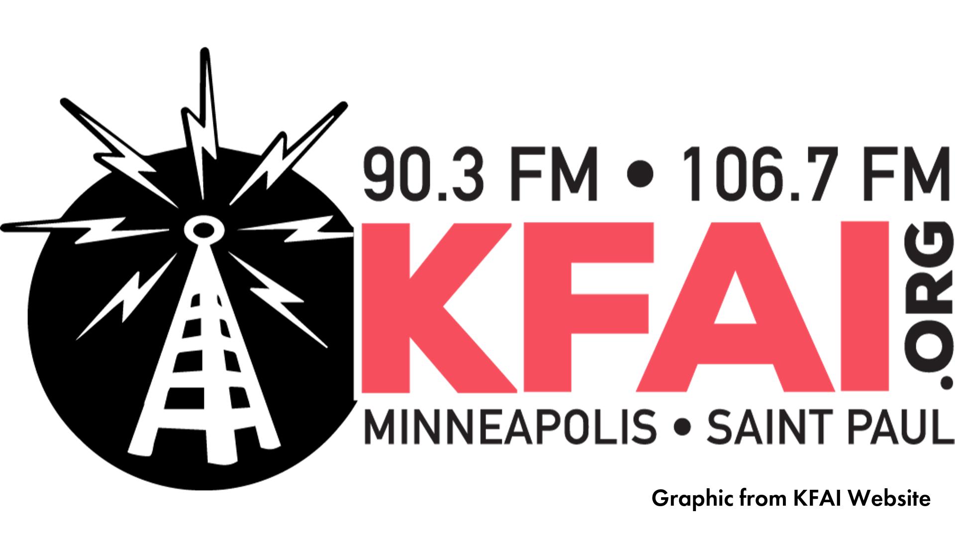 KFAI radio logo black and red graphic