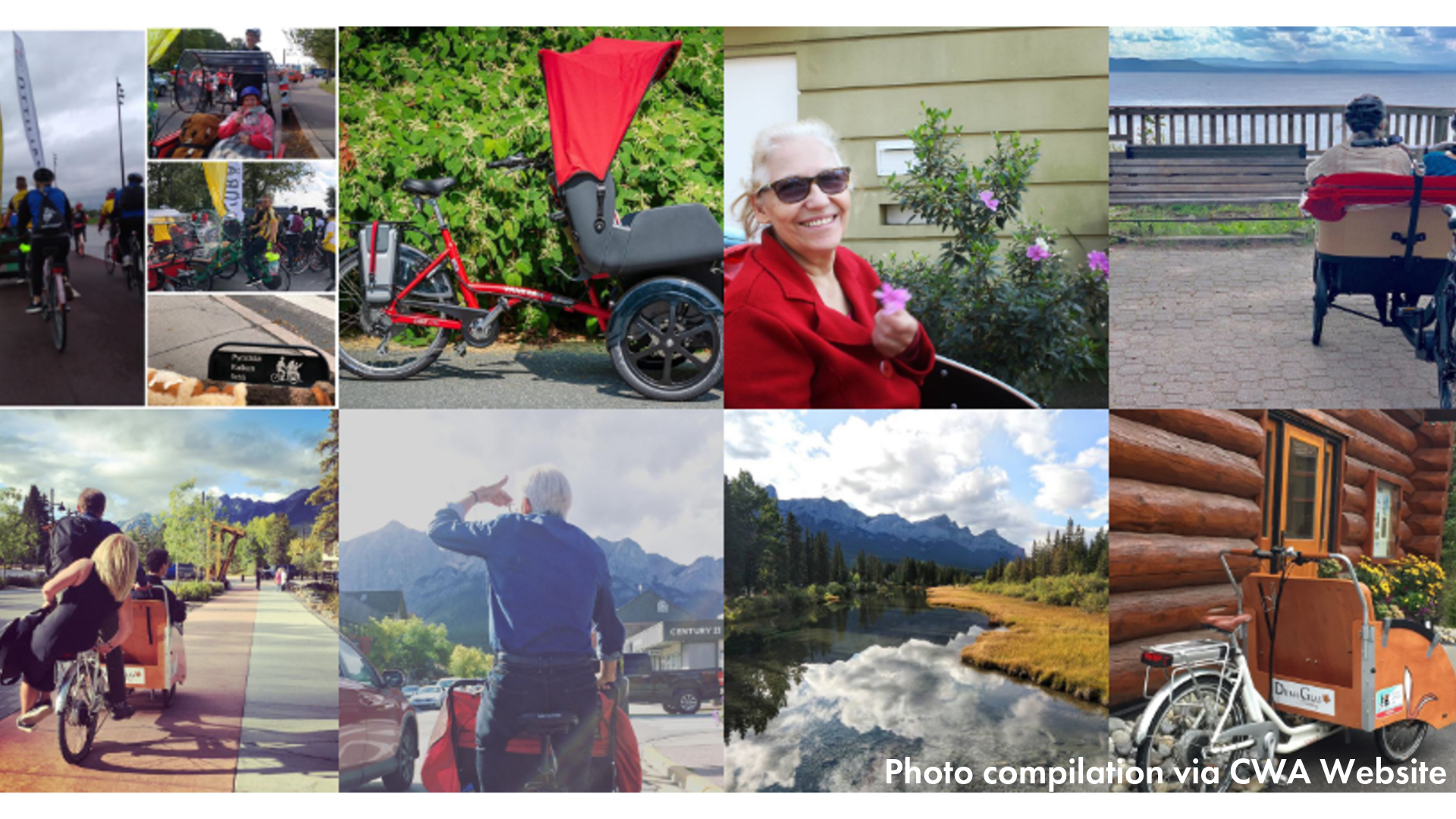 compilation of pictures of folks cycling with CWA