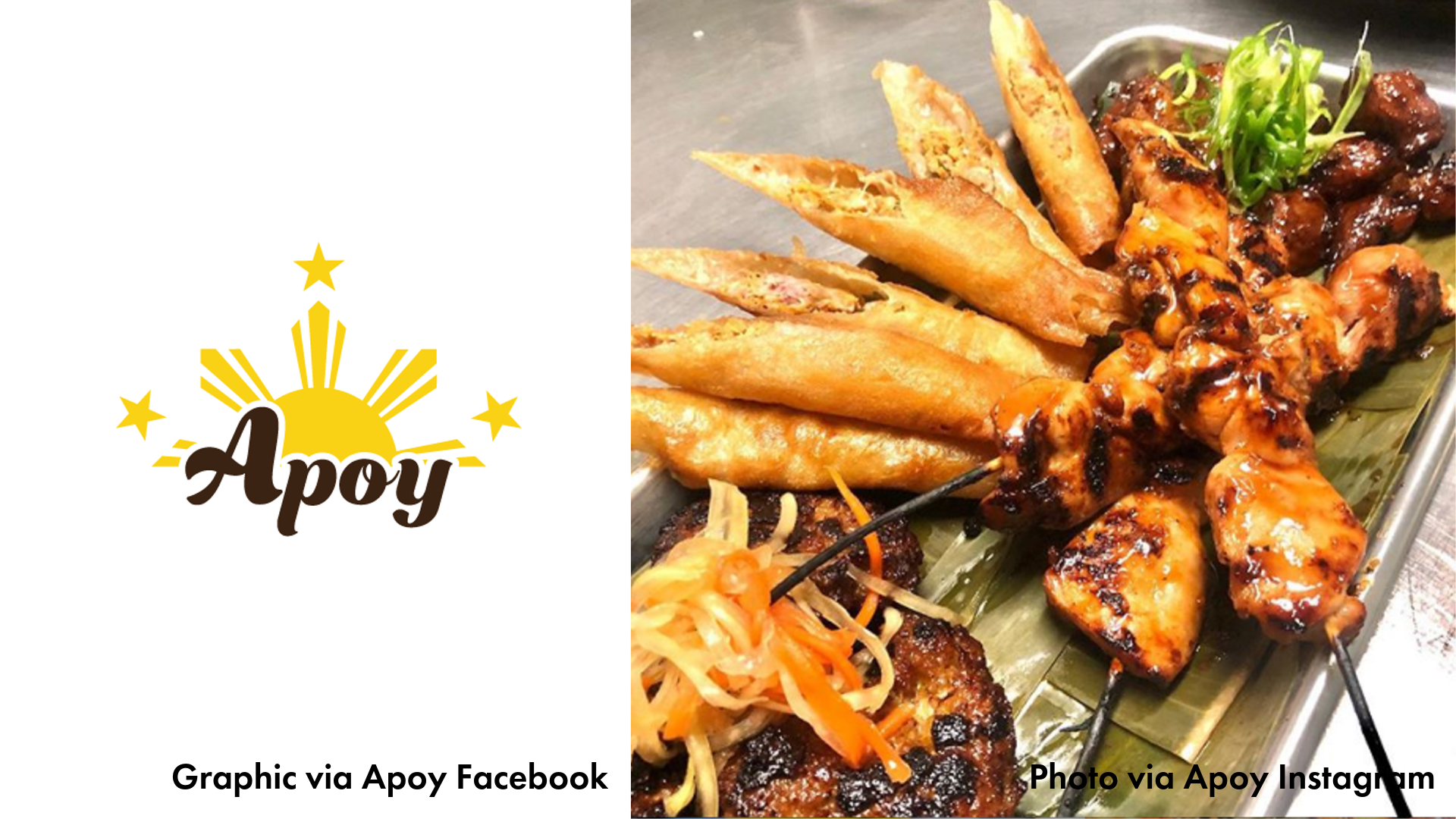 Apoy logo and picture of their food