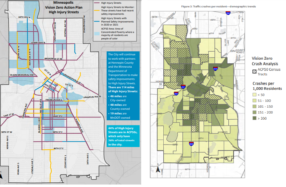Maps of the Vision Zero High Injury Network & crashes with demographic data. Find more at visionzerompls.com