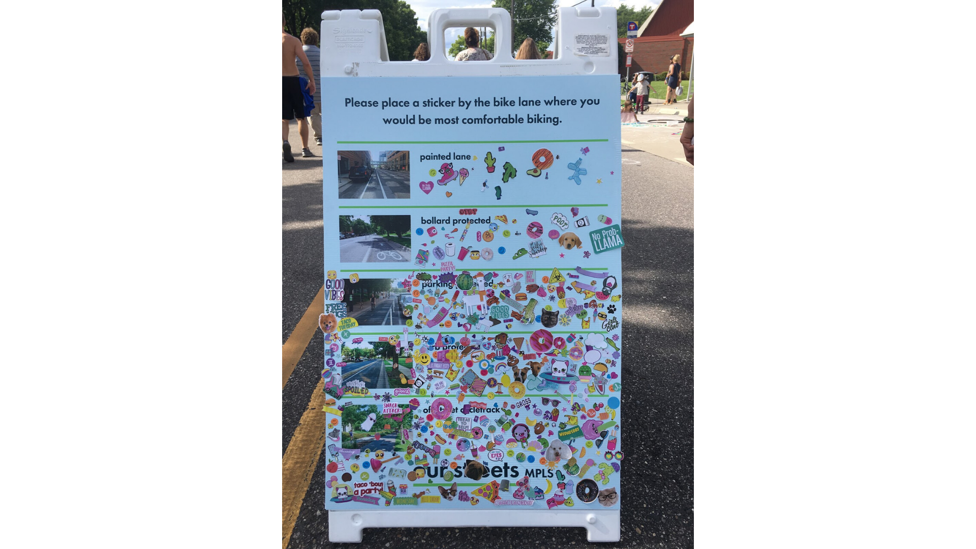 Engagement board with stickers by different types of bike infrastructure