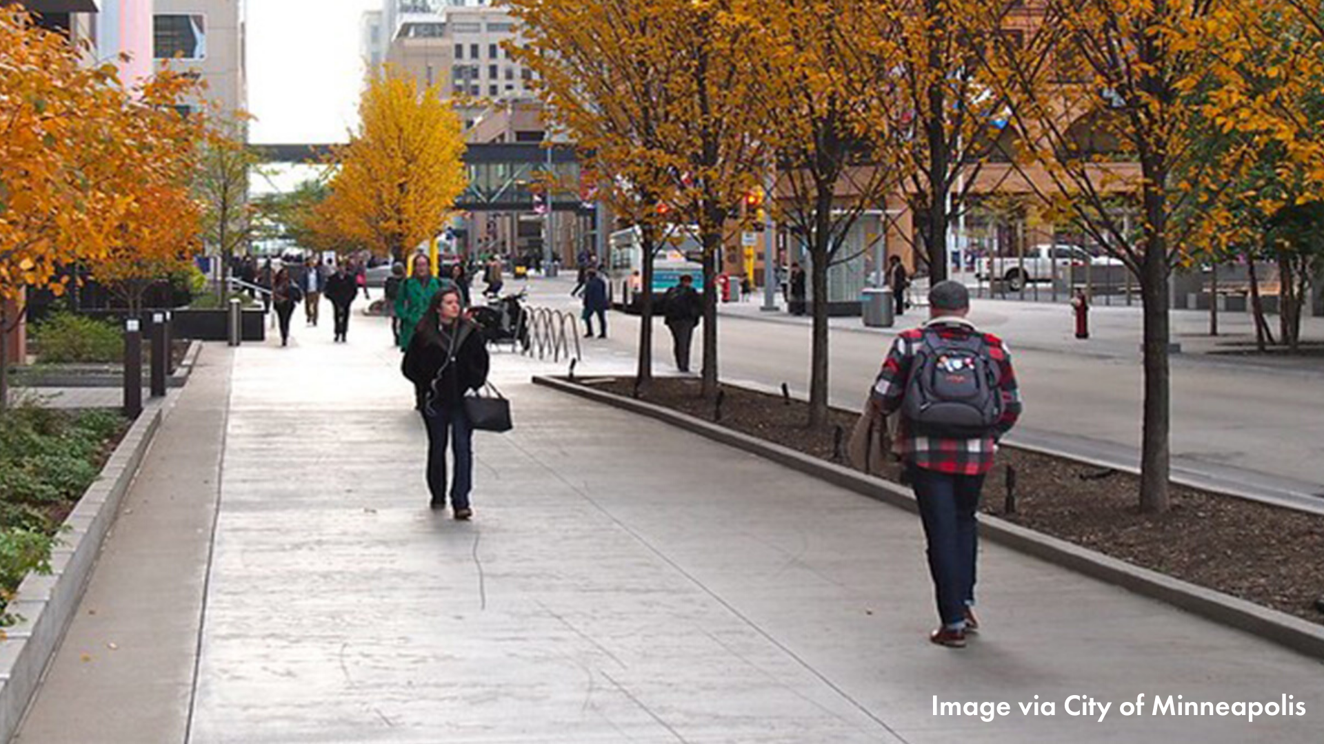 People walking on Nicollet Ave downtown in the fall
