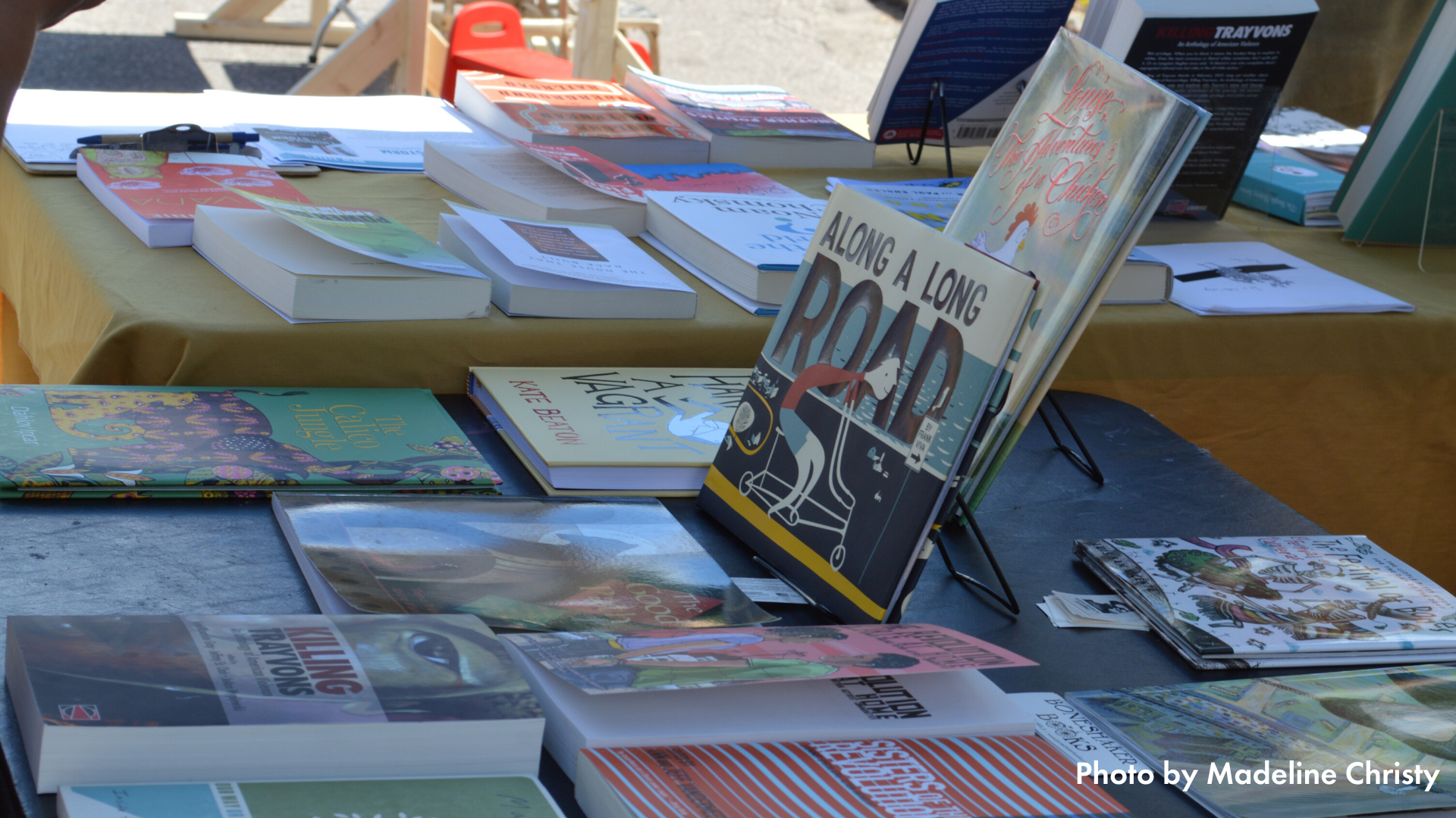 Books displayed on a table at Open Streets Franklin