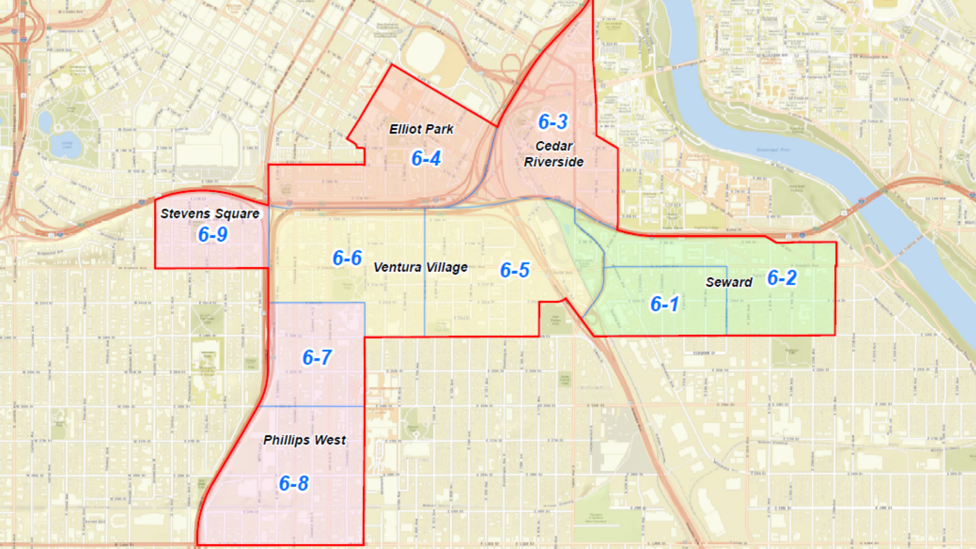 Map of the 6th Minneapolis City Council Ward