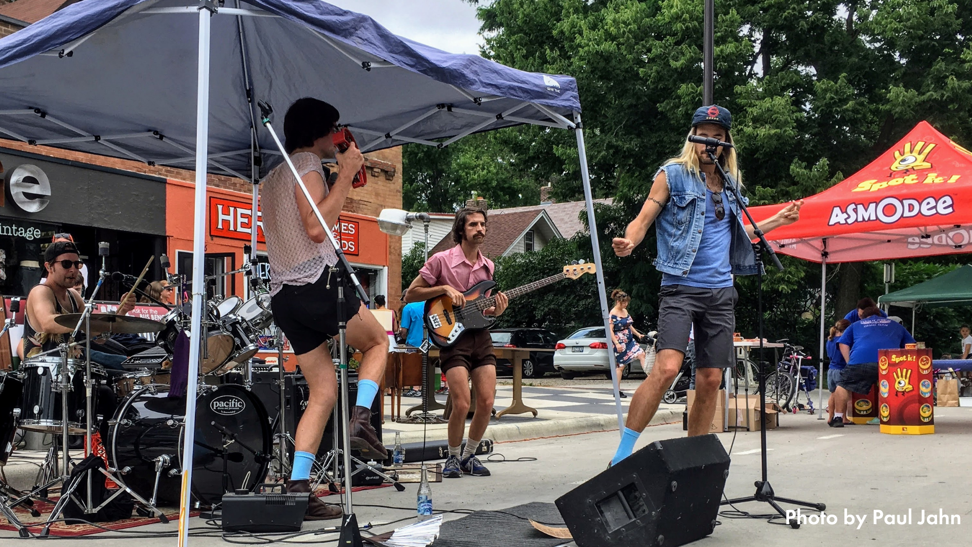 A band playing on the street at Open Streets Minnehaha
