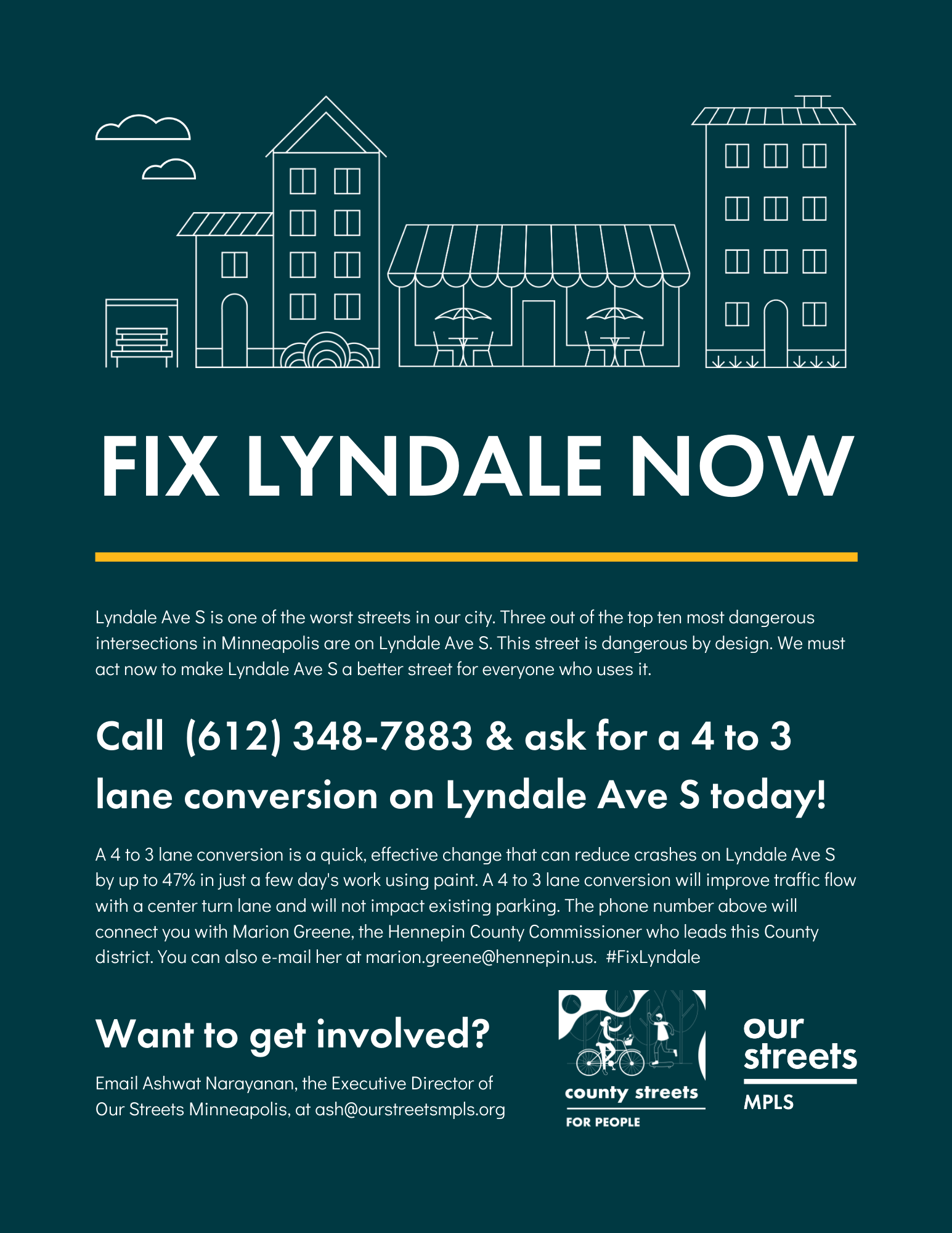 Fix Lyndale flyer encouraging people to call Marion Greene